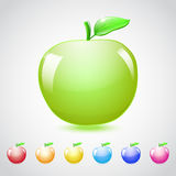 Set of glass apples. In different colors, with green leaf Royalty Free Stock Image