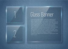 Set of glass banners on jeans texture. Stock Photos