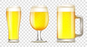 Set of glass of beer. stock illustration