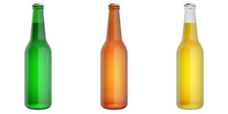 Set of glass beer bottles. Royalty Free Stock Photo