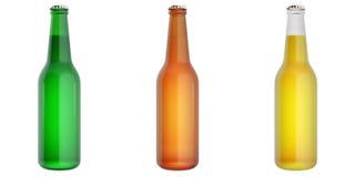 Set of glass beer bottles. 3d illustration Royalty Free Stock Photo
