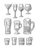 Set glass beer, whiskey, wine, gin, rum, tequila, champagne, cocktail. Set glass beer, whiskey, wine, gin, rum, tequila, cognac, champagne, cocktail Vector royalty free illustration