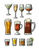 Set glass beer, whiskey, wine, gin, rum, tequila, cognac, champagne, cocktail, grog. Set glass beer, whiskey, wine, gin, rum, tequila, cognac, champagne vector illustration