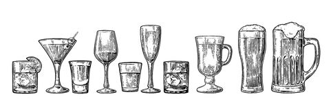 Set glass beer, whiskey, wine, tequila, cognac, champagne, cocktails, grog. Set glass beer, whiskey, wine, tequila, cognac, champagne, cocktails and grog Royalty Free Stock Image