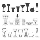 Set glass black and white. Set glass icons for your print and web Stock Illustration