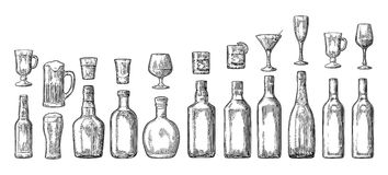 Set glass and bottle beer, whiskey, wine, gin, rum, tequila, champagne, cocktail vector illustration