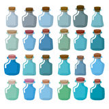 Set of glass bottles for laboratory research. Magic bottle with Royalty Free Stock Photo