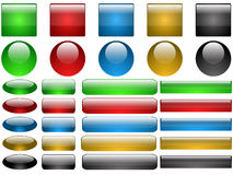 Set of glass buttons Stock Photos