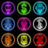 Set of glass buttons. Set of 9 colorful glass buttons for applications and web Royalty Free Stock Images