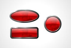 Set of glass buttons. Set of the glass buttons with metal edge Stock Photo