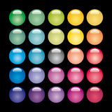 Set of glass buttons. Set of glass buttons on a black background Royalty Free Stock Photos