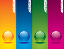 Set of glass buttons. On coloured  backgrounds Stock Photo