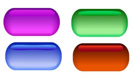 A set of 4 glass buttons with different glare. Royalty Free Stock Photos