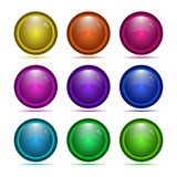 Set of glass buttons with frame. Glossy icons for web Stock Photo