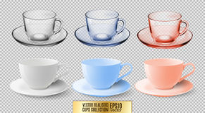 A set of glass and ceramic tea cups. Transparent multicolored glass mugs. High detailed vector illustration of colorful. Cups isolated on transparent background Royalty Free Stock Image