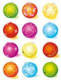 A set of glass Christmas balls Stock Photography
