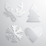 Set of glass Christmas and New Year icons Stock Images