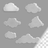 Set of glass clouds icons with shadow Royalty Free Stock Photography