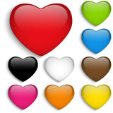 Set Glass Colorful Glossy Heart Stock Photo