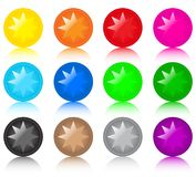 Set of glass coloured buttons with stars Royalty Free Stock Image