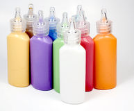 Set of glass deco paint in tubes. With cover Royalty Free Stock Photo
