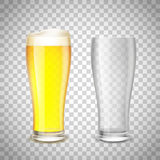 Set of glass, empty and with beer on a transparent background. S Royalty Free Stock Photography