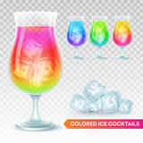 Set of glass of exotic cocktail on a transparent background. Vector illustration Stock Photo