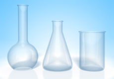 Set of glass flasks for chemistry experiments rendered in 3D Royalty Free Stock Photography