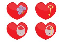 Set of glass hearts. Stock Photos