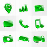 Set glass icons button color symbol Stock Photo