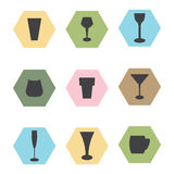 Set glass icons. Colored background Royalty Free Illustration