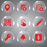 Set of Glass icons vector. Vector Illustration red icon set collection for web design Stock Photography