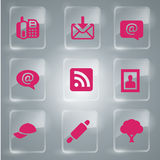 Set 9 Of Glass Icons Vector Pink Royalty Free Stock Photos