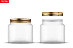 Set of Glass Jars for canning. And preserving. Square shape with right angles. With closed and open cover. Vector Illustration isolated on transparent Royalty Free Stock Photos
