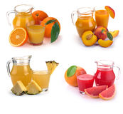 Set  glass and jug of fruits juice Stock Images