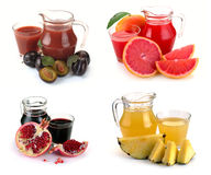 Set  glass and jug of fruits juice Royalty Free Stock Images