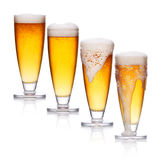Set of glass of light beer foam Royalty Free Stock Images