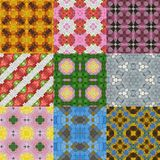 Set of glass mosaic kaleidoscopic seamless generated textures Royalty Free Stock Photo