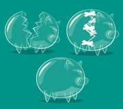 Set of glass piggy banks Royalty Free Stock Photo
