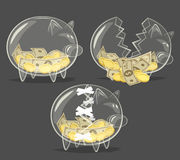 Set of glass piggy banks Royalty Free Stock Photos