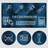 A set of glass processing contour icons. Cutting, grinding and polishing the edges. The cost of glass, glass bonding, transport and contacts stock illustration