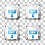 Set of glass rar, zip, doc and pdf download icons Royalty Free Stock Images