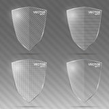 Set of glass shields. Vector illustration. Royalty Free Stock Photography