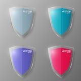 Set of glass shields. Vector illustration. Royalty Free Stock Photo