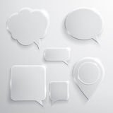 Set of glass speech bubbles clouds and icons Stock Images