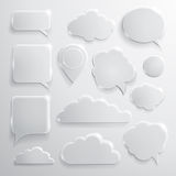 Set of glass speech bubbles clouds and icons Royalty Free Stock Image