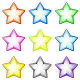Set of glass stars. Set of nine glossy transparent stars good for website decoration Stock Photography