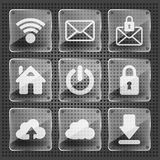 Set of glass web icons Stock Photo