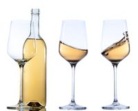 Set of glass with white wine on white background. Royalty Free Stock Photo