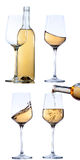 Set of glass with white wine on white background. Stock Photos